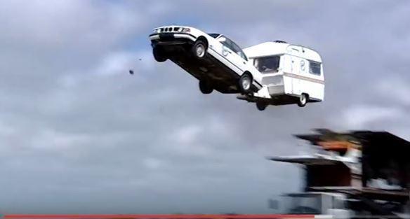 World Record Towing a Caravan Jump